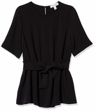 Nine West Women's SORT Sleeve Jewel Neck Blouse with Waist TIE Detail