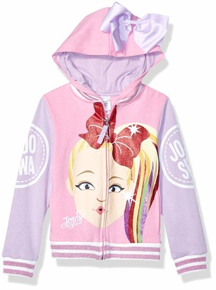 LTB JoJo Siwa Girls' Face Zip Up Hoodie with Bow on Hood