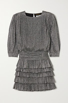 Saint Laurent Ruffled Tiered Metallic Silk-blend Mini Dress - Silver