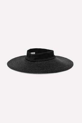 CLYDE Dream Jersey-trimmed Straw Hat - Black