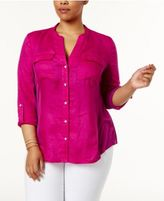INC International Concepts Plus Size Knit-Panel Utility Shirt, Created for Macy's