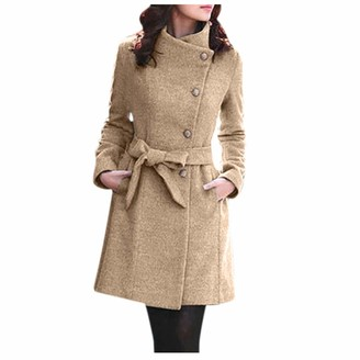 Younthone Womens Winter Lapel Artificial Wool Coat Buttoned Belt Long Sleeve Warm Jacket Party Elegant Coat Fashion Slim Outwear Ladies Casual Wild Large Size Coat Business Banquet Clothing Khaki