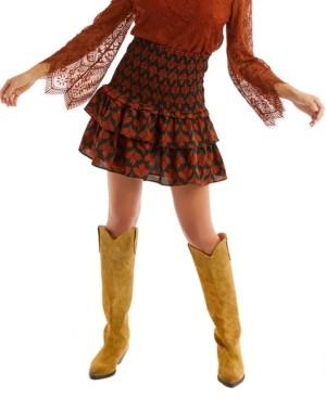 Allison New York Women's Leaf Print Smocked Mini Skirt
