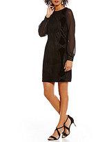 Ivanka Trump Art Deco Burnout Velvet Chiffon Sleeve Sheath Dress
