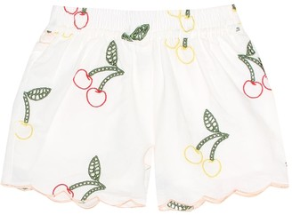 Stella Mccartney Kids Embroidered linen and cotton shorts