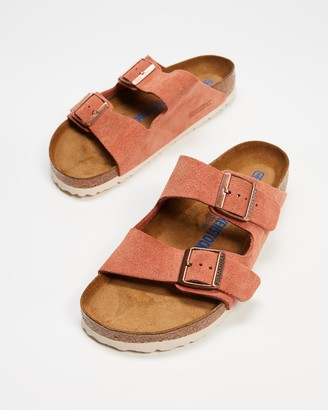Birkenstock Women's Red Flat Sandals - Arizona Regular SFB Suede Leather - Women's - Size 36 at The Iconic