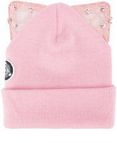 Silver Spoon Attire - Bad Kitty embellished beanie with cat ears - women - Acrylic - One Size