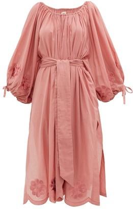 Innika Choo Frida Wailes Embroidered Cotton Dress - Dark Pink