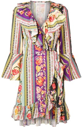 Etro multi-print wrap dress