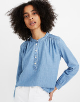 Madewell Denim Shirred Popover Top in Emmie Wash