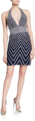 Jovani Beaded Chevron Mini Halter Dress