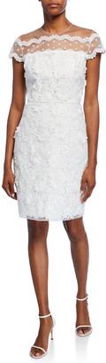 Shoshanna Jan Cap-Sleeve Textured Lace Cocktail Dress