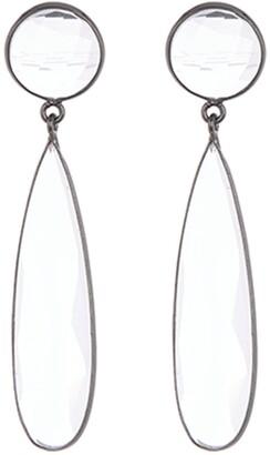 ADORNIA Sterling Silver Two Drop Pear Quartz Dangle Earrings