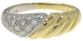 Mikimoto Platinum and 18K Yellow Gold 0.20 Ct Diamond Ring Size 4.5