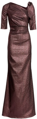 Teri Jon by Rickie Freeman Bow Metallic Gown