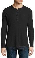 Burberry Cliffton Ribbed-Knit Henley T-Shirt, Black