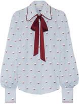 Marc Jacobs Pussy-bow Fil Coupé Cotton Blouse