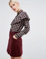 Monki Check Frill Detail Shirt