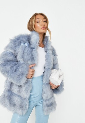 Missguided Blue Pelted Faux Fur High Collar Coat