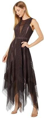 BCBGMAXAZRIA Lace and Tulle Midi Dress