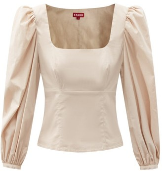 STAUD Lana Square-neck Cotton-blend Top - Light Beige