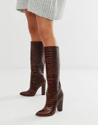 Aldo Block Heel High Leg Boot in Brown Croc Print Leather