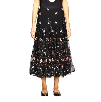 Tory Burch Long Skirt With Floral Embroidery