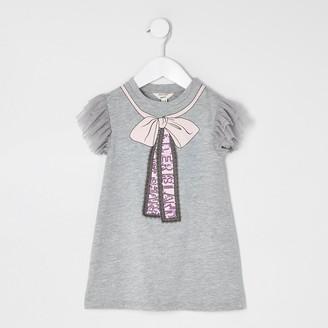 River Island Mini girls Grey bow frill T-shirt dress