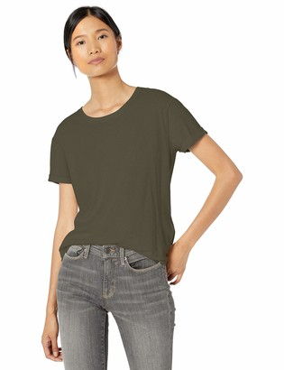 Goodthreads Washed Jersey Cotton Roll-Sleeve Open Crewneck T-Shirt Dark Green Medium