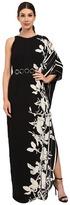 Halston One Sleeve Printed Gown with Curved Circle Belt
