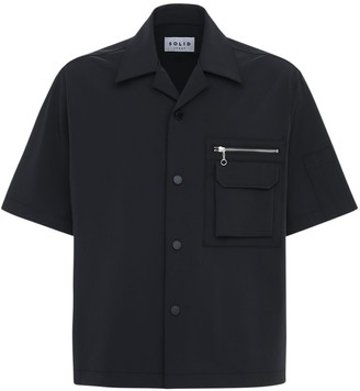 Solid Homme Bowling Shirt W/ Zip Pocket
