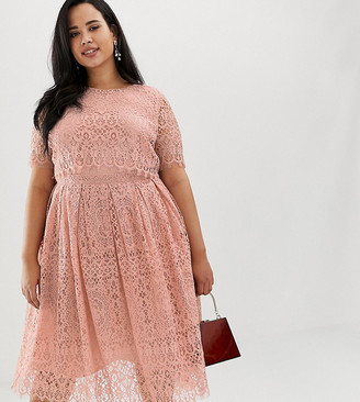 Asos DESIGN Curve Lace short sleeve midi prom dress-Multi