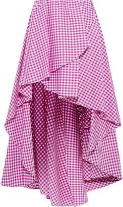 Caroline Constas Adelle Asymmetric Gingham Cotton-poplin Mini Skirt
