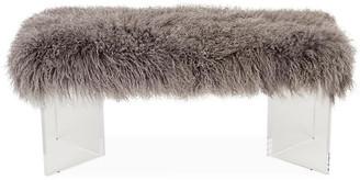 """Le-Coterie Le Coterie Curly V Tibetan Lamb Bench - Gray 24"""""""