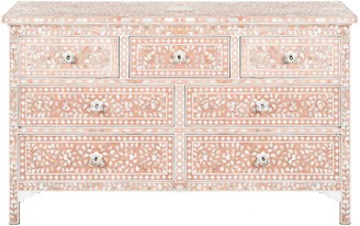 Mother of Pearl Camilla Inlay 7 Drawer Chest Floral Blush