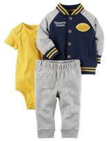 Carter's Newborn 3-Piece Handsome Little Jacket, Bodysuit, and Pant Set in Navy/Grey