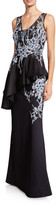 Rickie Freeman For Teri Jon Embroidered Floor-Length Peplum Gown