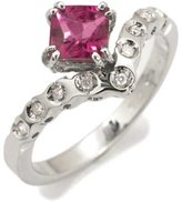 Tatitoto Vintage Women's Ring in 18k Gold with Tourmaline and Diamond H/SI (total diamonds 0.06 ct), Size 7, 4 Grams