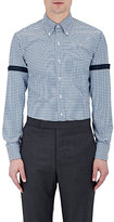 Thom Browne Men's Stripe-Appliquéd Checked Cotton Shirt-BLUE