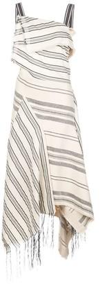 Monse Sleeveless Striped Asymmetric Midi Dress