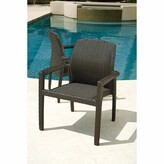 evo Stacking Patio Dining Chair Tropitone Color: Kaffee Basket Weave