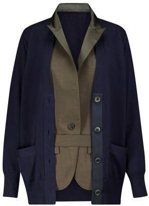 Sacai Cotton and wool cardigan