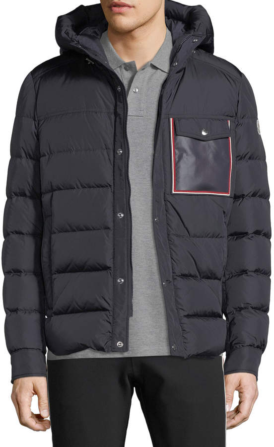 Moncler Men's Prevot Hooded Puffer Jacket with Pocket