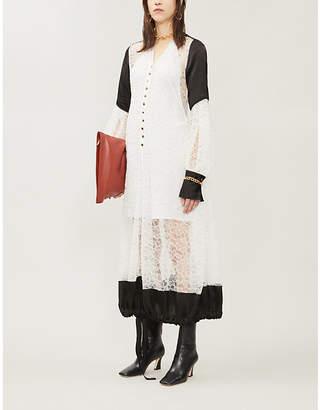 Loewe V-neck contrast-overlay lace midi dress