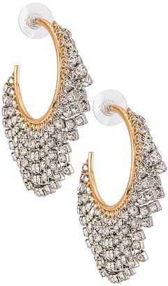 Rebecca Minkoff Rhinestone Fringe Hoop Earrings