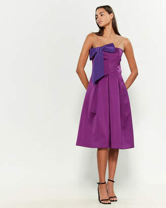P.A.R.O.S.H. Bow Front Satin Fit & Flare Dress