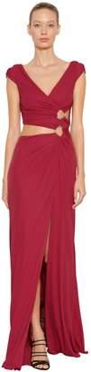 Roberto Cavalli Cut Outs Light Viscose Jersey Dress