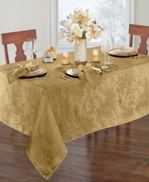 "Elrene Poinsettia Elegance Jacquard Holiday Tablecloth - 60"" x 84"" Oval"