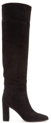 Gianvito Rossi 85 Square-toe Knee-high Suede Boots - Black