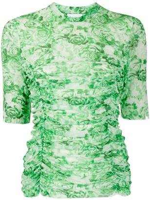 Ganni Floral Print Ruched Top